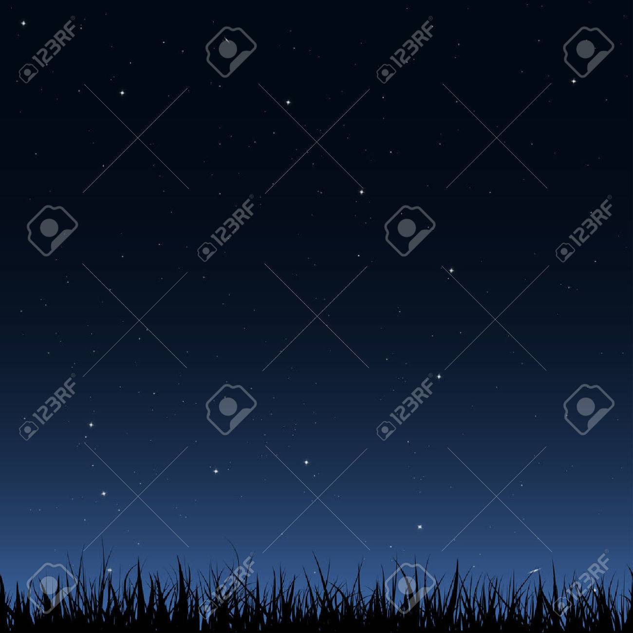 Horizontal seamless vector image. Black silhouette of grass under the night sky with a lot of stars and galaxies. - 36570592