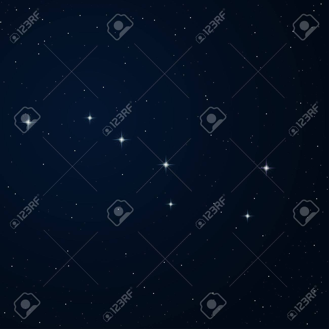 Realistic vector image of constellation Ursa major on the night sky. - 36570598