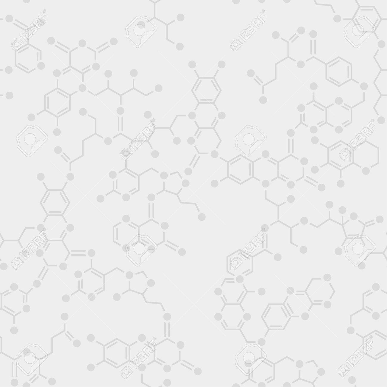 Seamless simple science gray background. Schematic molecules bond together. - 37040403