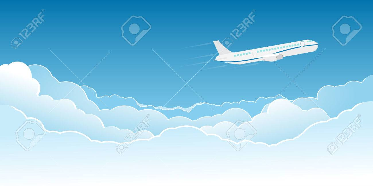 White jet plane flying high in the clouds. - 37240456