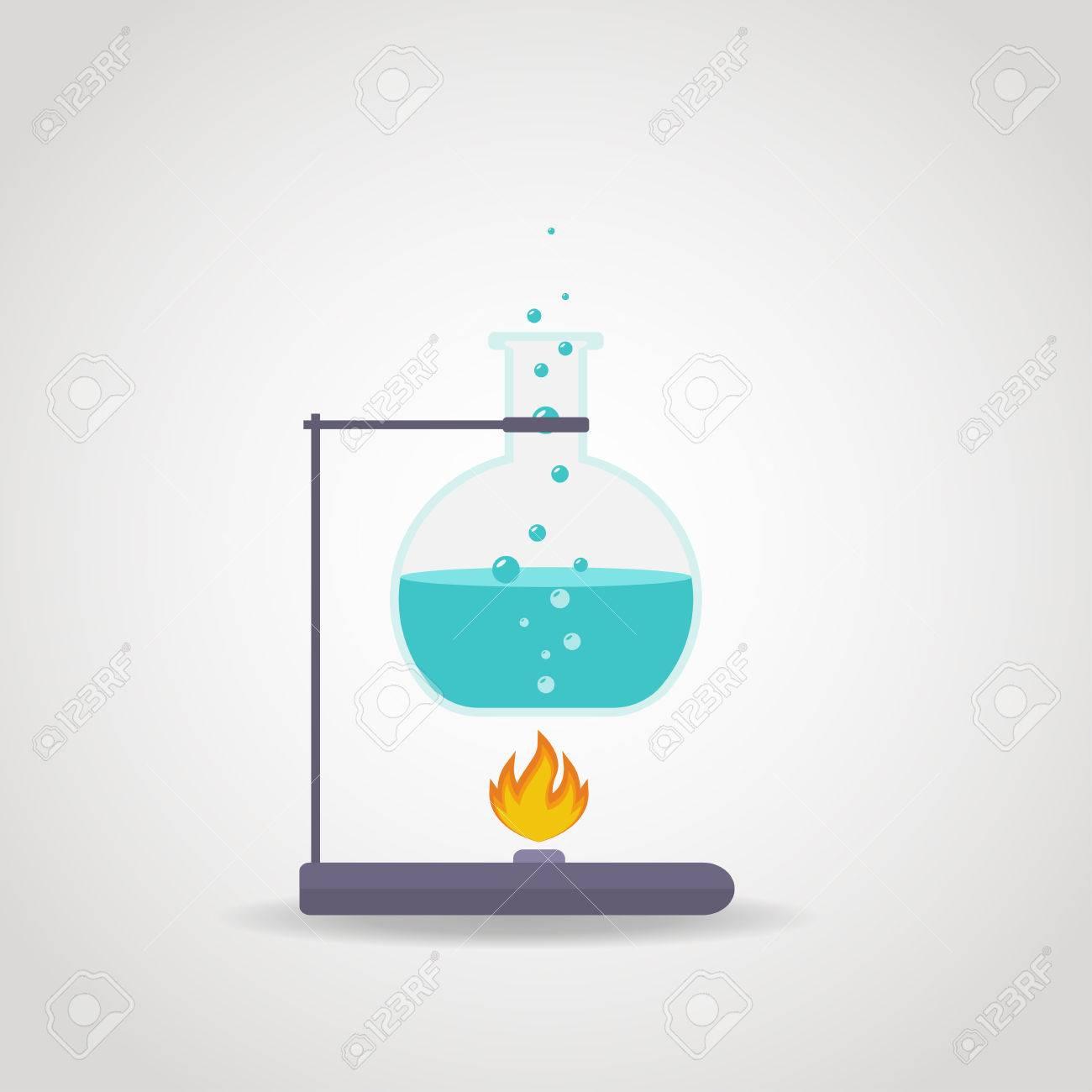Chemistry tube with blue liquid on lab burner. - 37578126