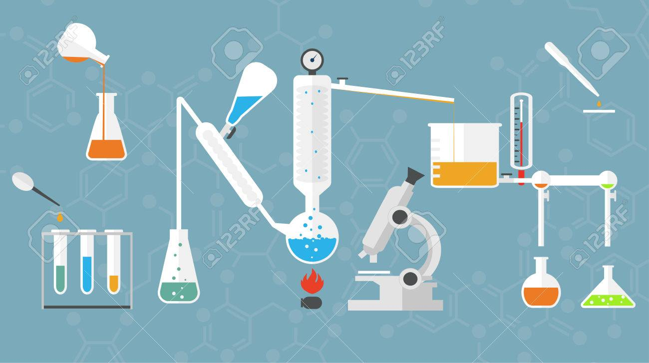 Chemical laboratory tubes and glasses, microscope, liquids and reagents. - 37729023