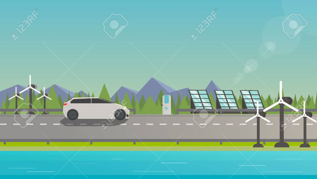 Flat illustration of electromobile on highway near windmill, solar panels and beautiful nature. - 43796037