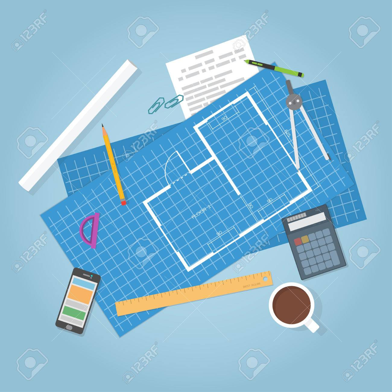 Architectural planning. Top view. Flat items, builder blueprints of house. Engineer data. - 48446215