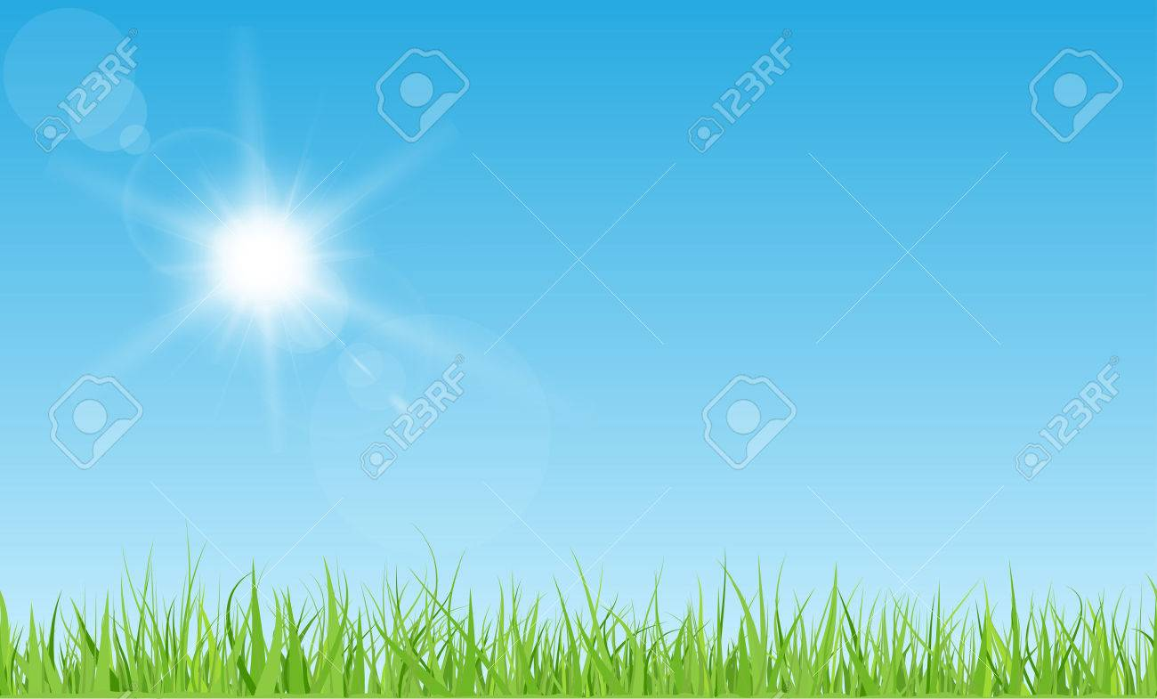 Sun with rays and flares on blue sky. Green grass lawn. - 51630403