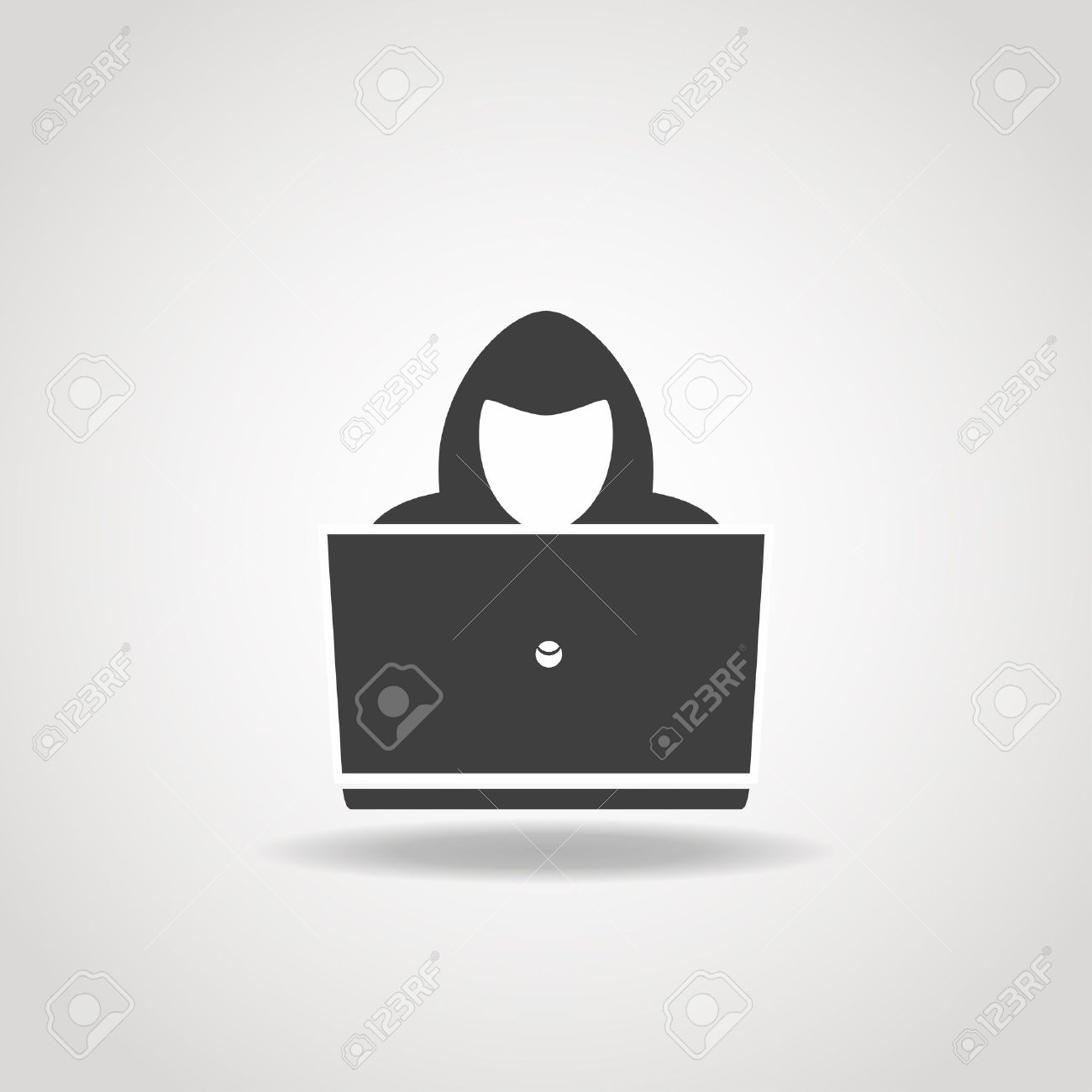 Black icon of hacker with big laptop. - 52507134