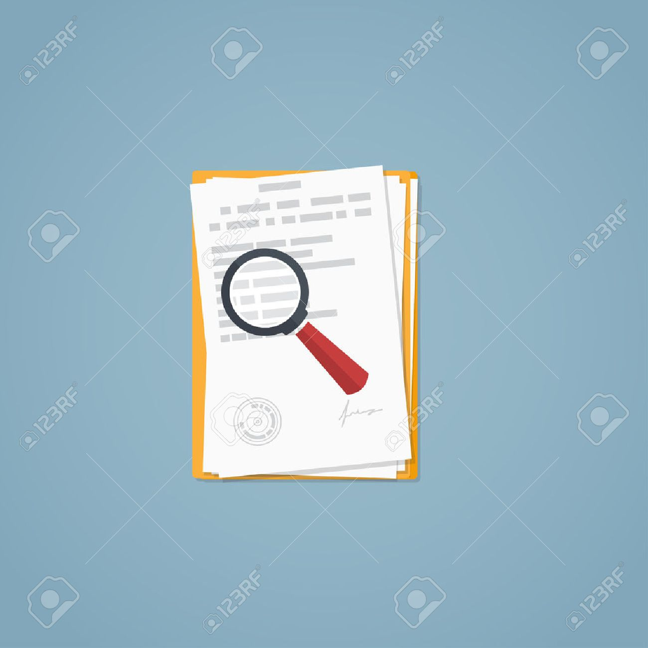 Flat illustration. Documents, magnifying glass, business papers. Signed agreement. Investigation research. - 53274489
