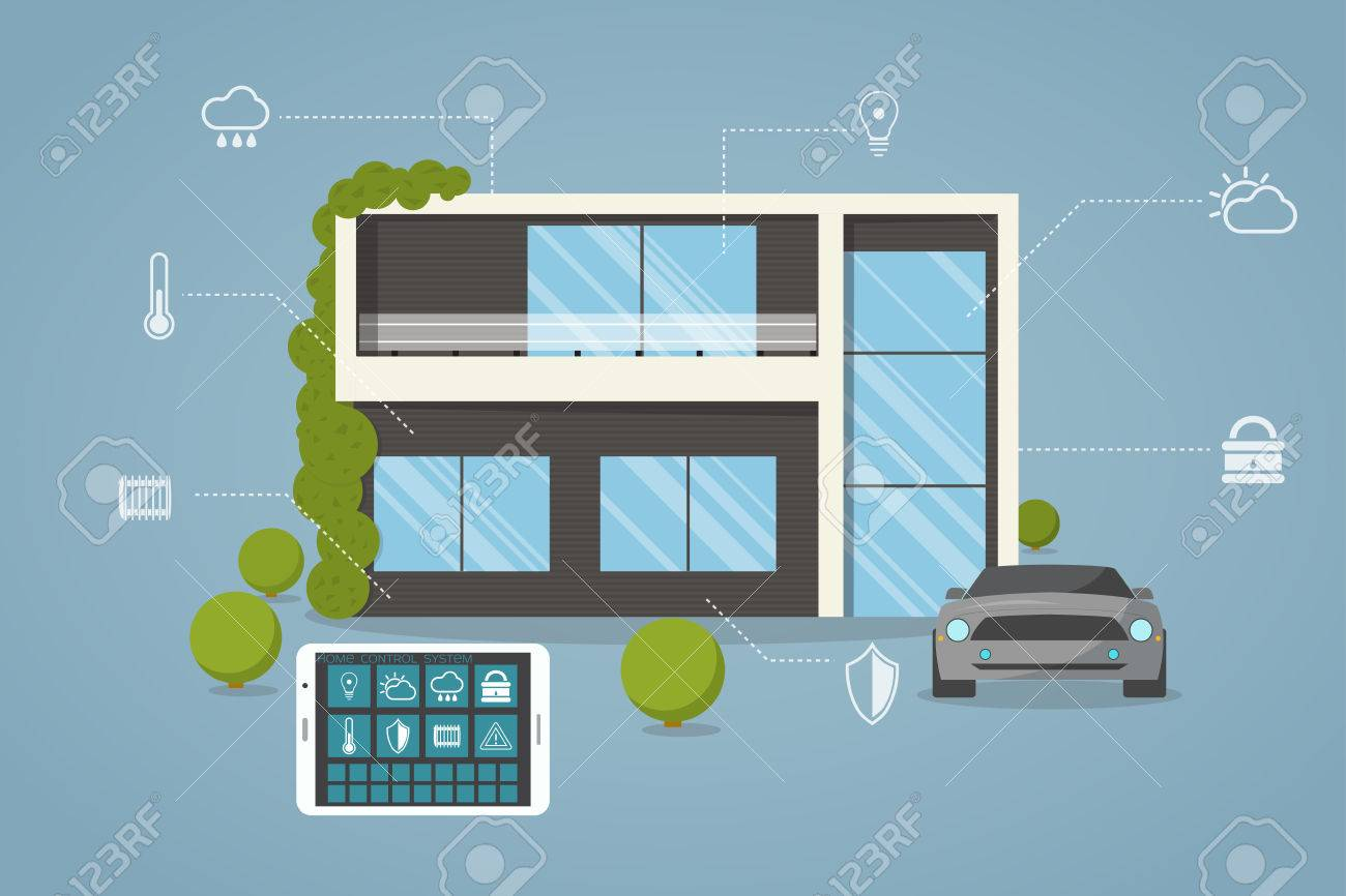Contemporary, eco smart house design with remote control from tablet. - 57794322