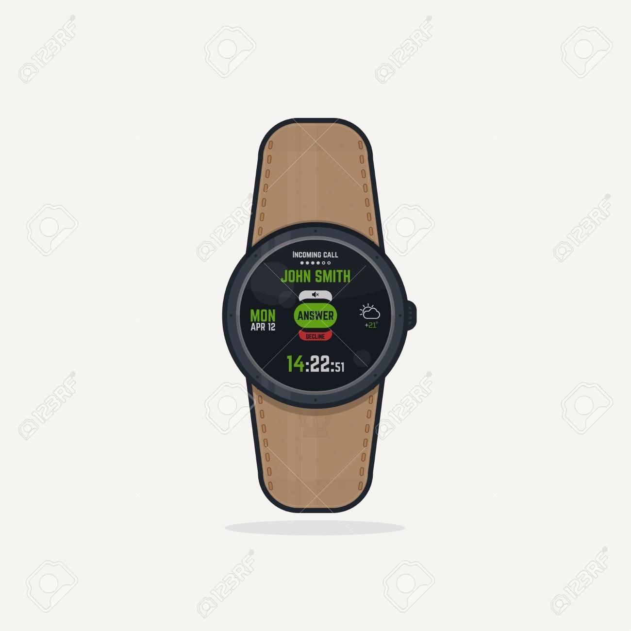 2b8f3a1f410c Foto de archivo - Reloj digital de pulsera con correa de cuero. aparatos  portátiles concepto de vigilancia inteligente con funciones de  visualización y de ...