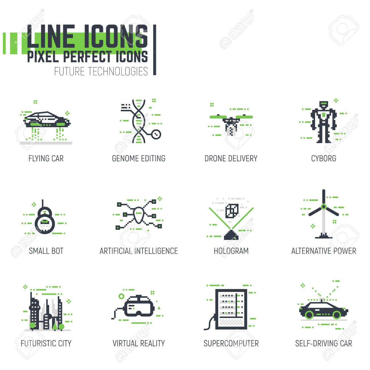 Set of pixel thick line style future icons. Technology and science items, cars and robots with futuristic tech. Machines of the future. - 67770351