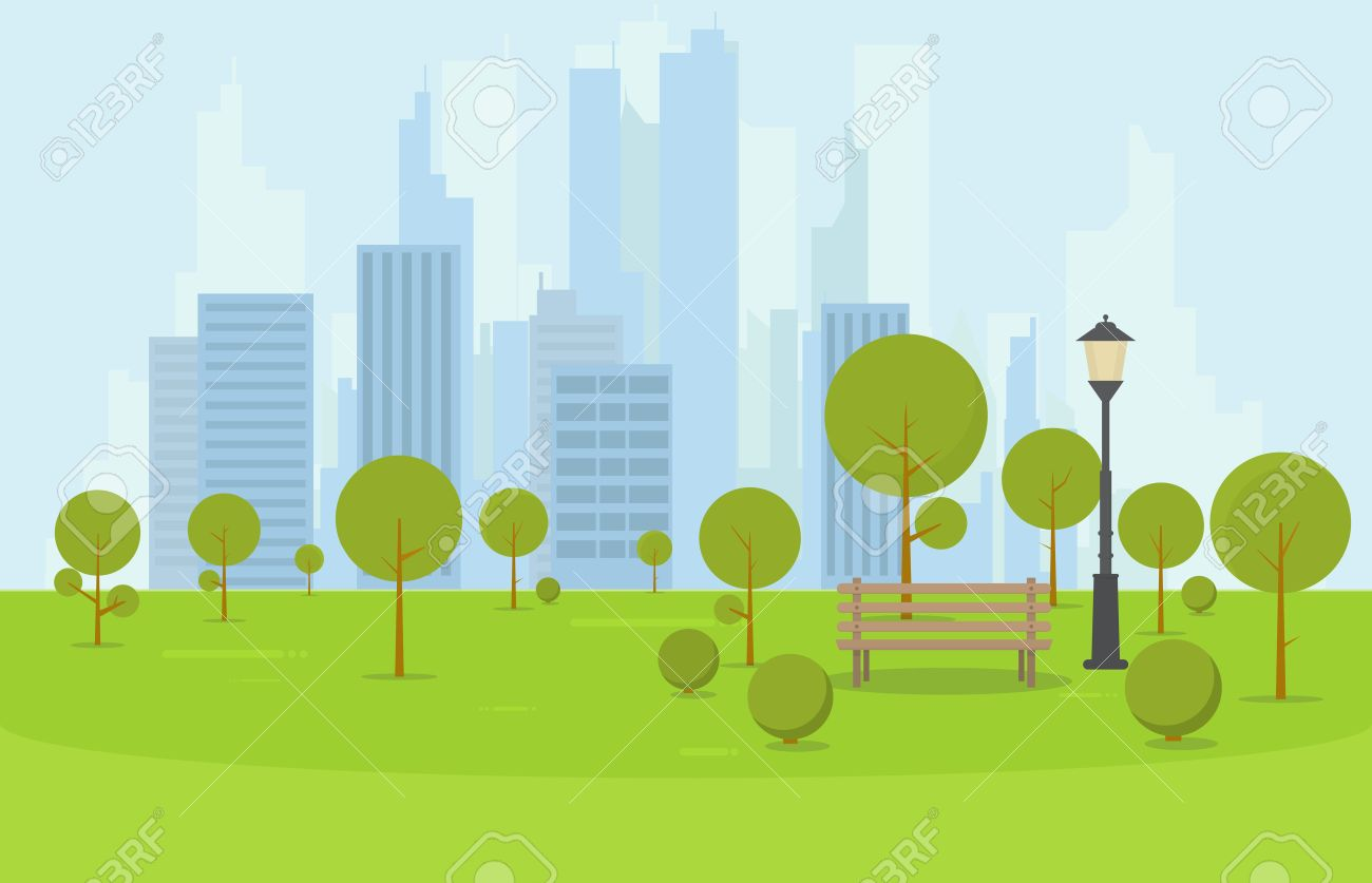 City park wooden bench, lawn and trees. Flat style illustration. On background business city center with skyscrapers and large buildings. Green park vegetation in center of big town. - 67777272