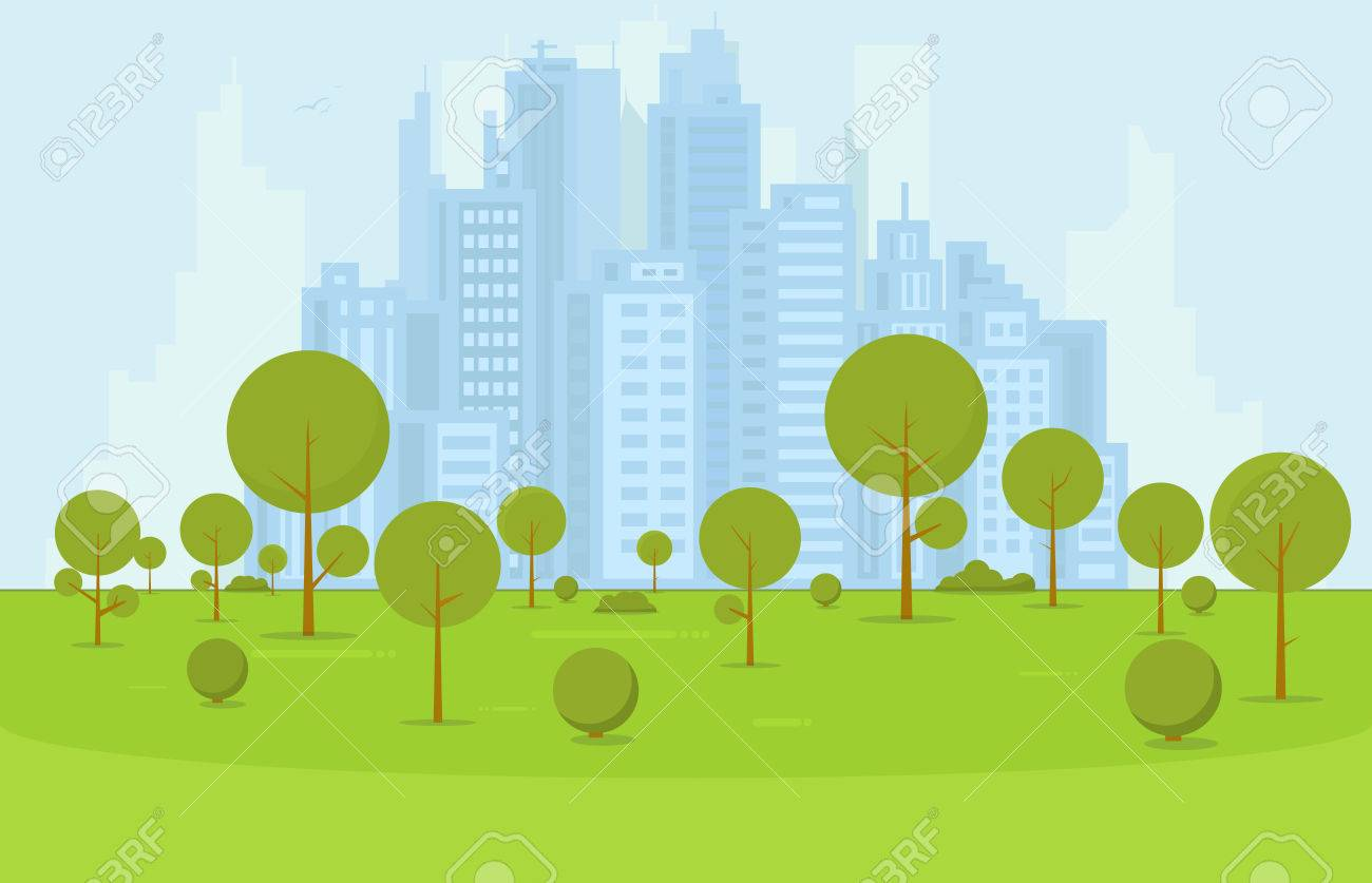Green city park and recreation zone with trees and bushes near business city center on background. Flat style cartoon vector illustration. - 71090362