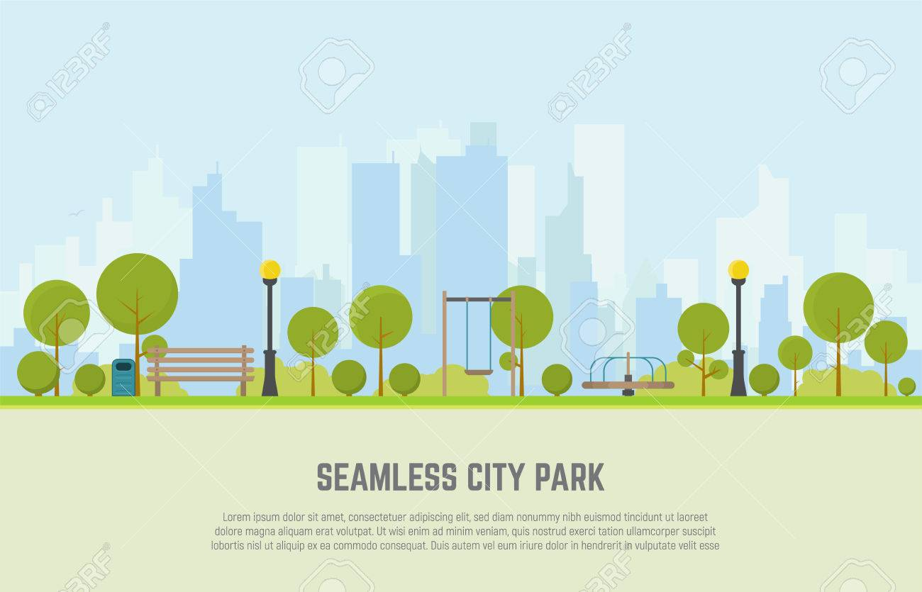 Creative concept of a Seamless city park bench, lawn and trees, trash can, swings and carousels. Flat style vector. On background business city center with skyscrapers. - 74720474