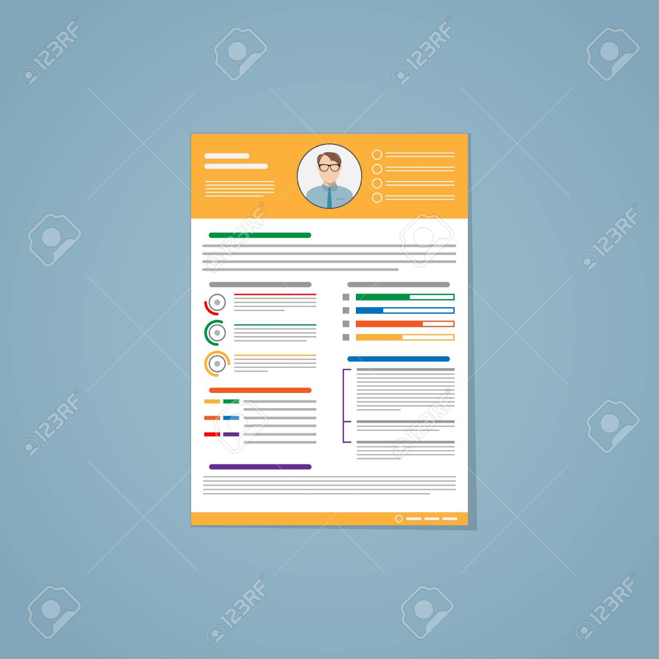 Resume In Flat Style With Yellow Lines And A Photo Of The Candidate It Consists