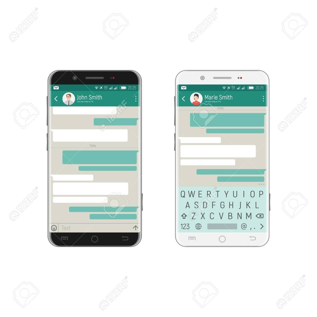 Mobile application with speech bubbles for communicating on the screen of black and white phones, with a qwerty keyboard on the touch screen. - 89622699