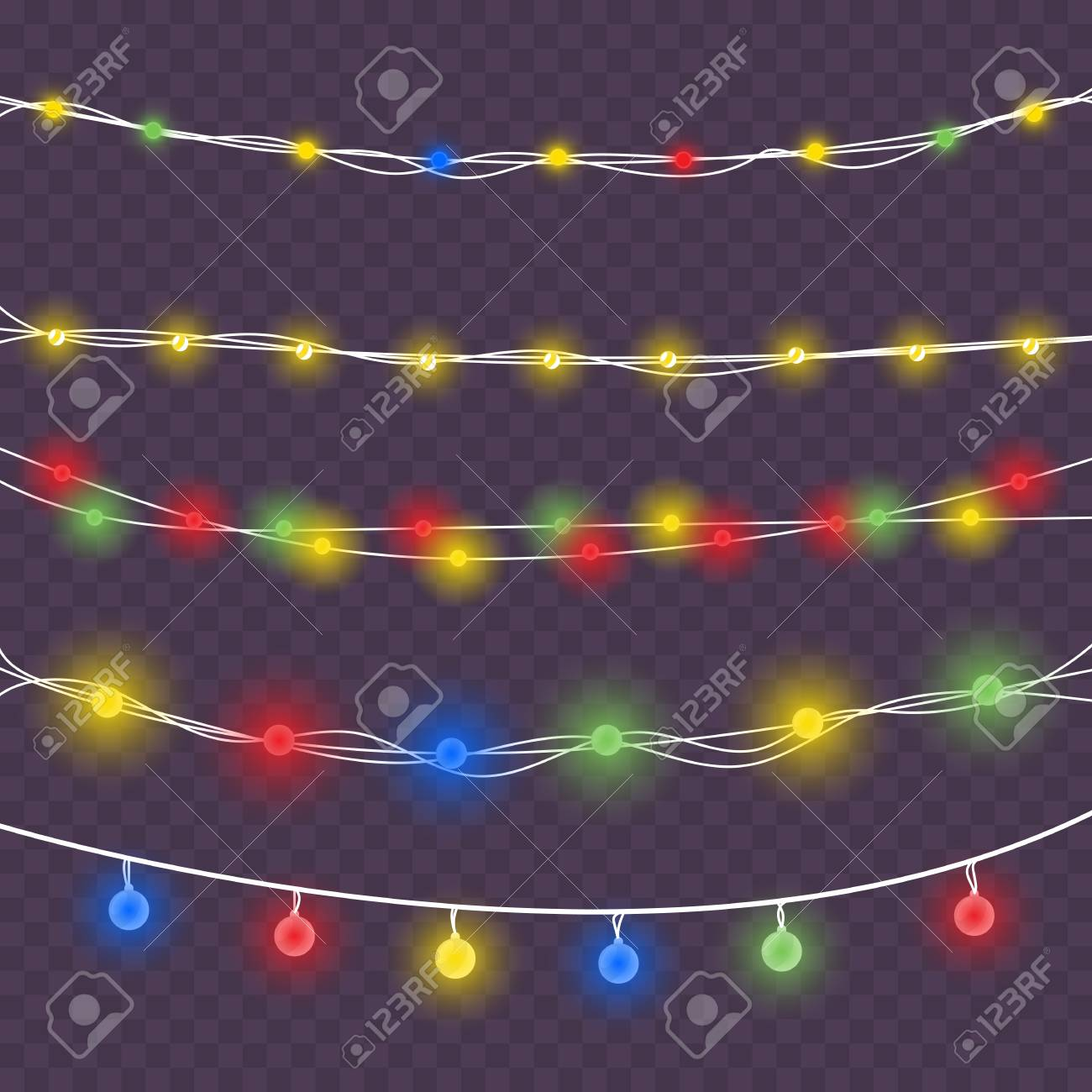 christmas light garland realistic glowing colored light bulbs on wires for decoration on xmas or