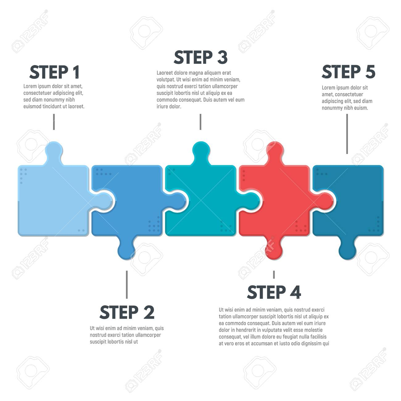 Puzzle infographic bussines concept. Template for business project presentation. Diagram with five puzzle pieces connected to each other. Modern line vector. - 92050071