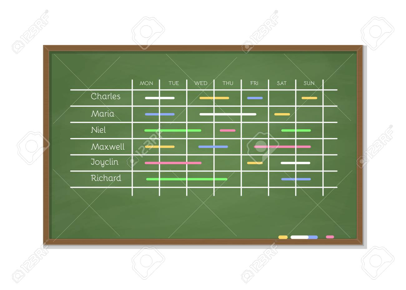 green chalkboard schedule for week planning business planner