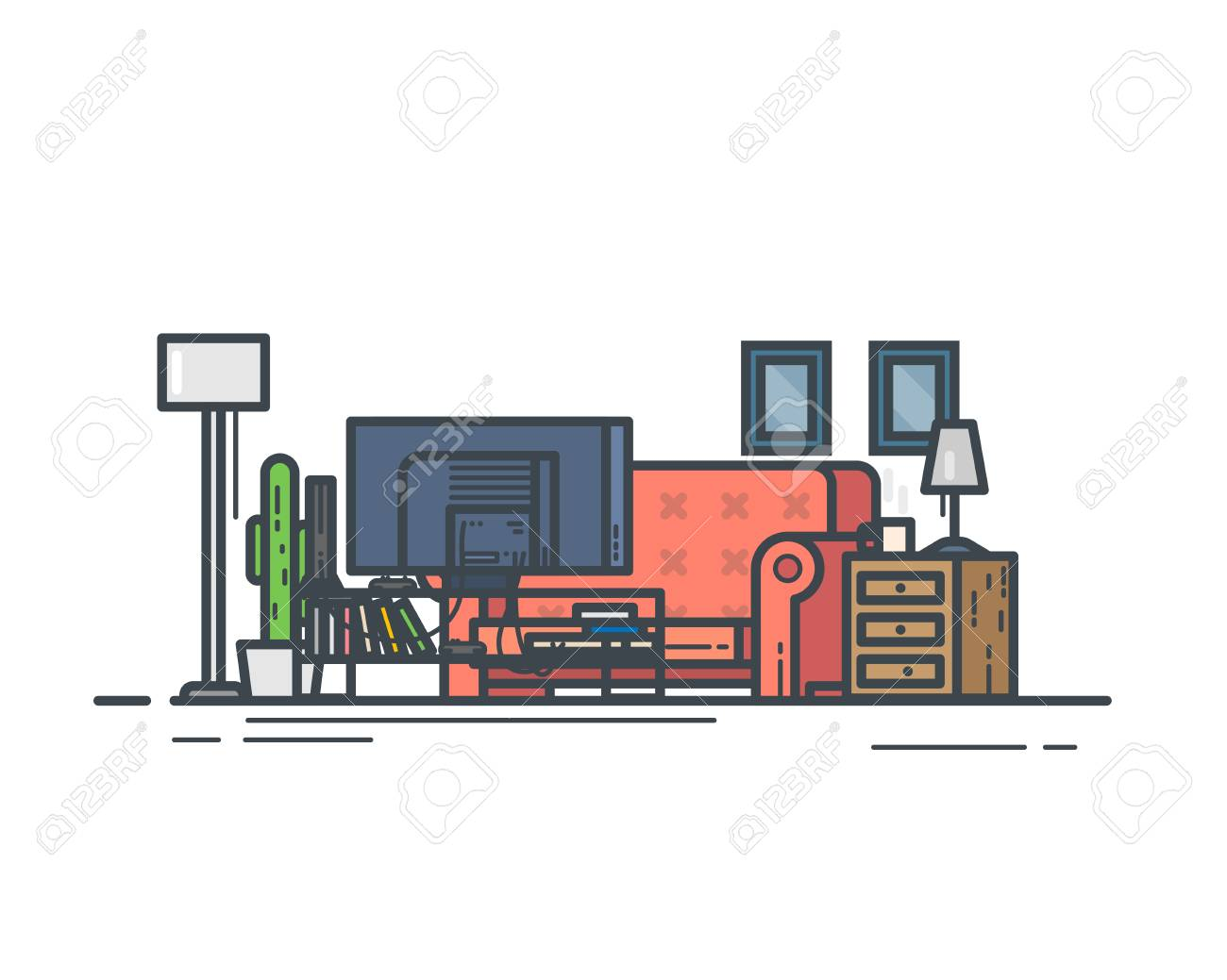 Living Room With Couch And Lamp Home Entertainment Tv And Game Royalty Free Cliparts Vectors And Stock Illustration Image 96754584
