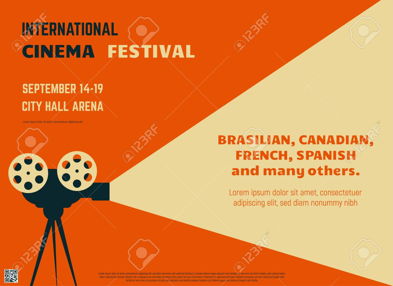 Retro Style International Movie Festival Poster Template Orange