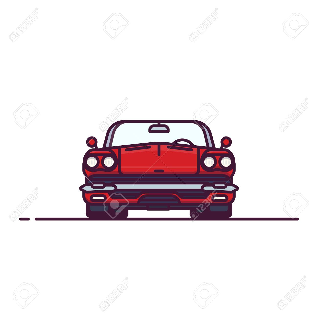 Front View Of Red Muscle Sport Car With Convertible Hood Cabriolet Royalty Free Cliparts Vectors And Stock Illustration Image 111881632