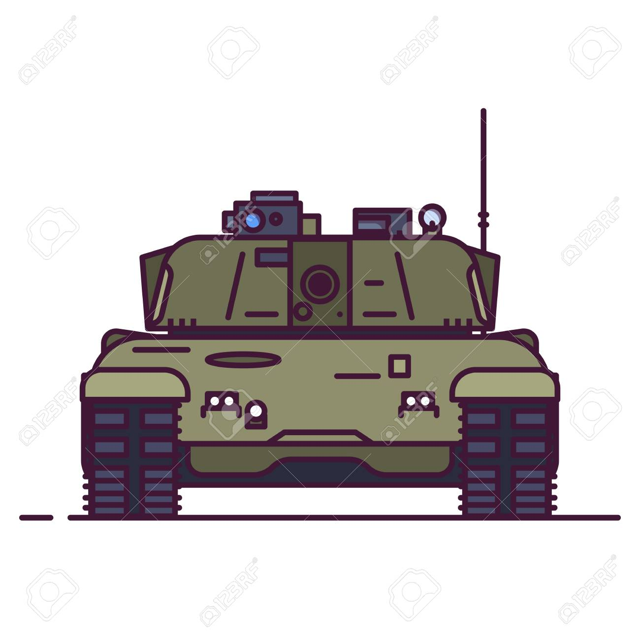 fac63224879df Front view of modern battle tank. Line style vector illustration. Military  vehicle concept.