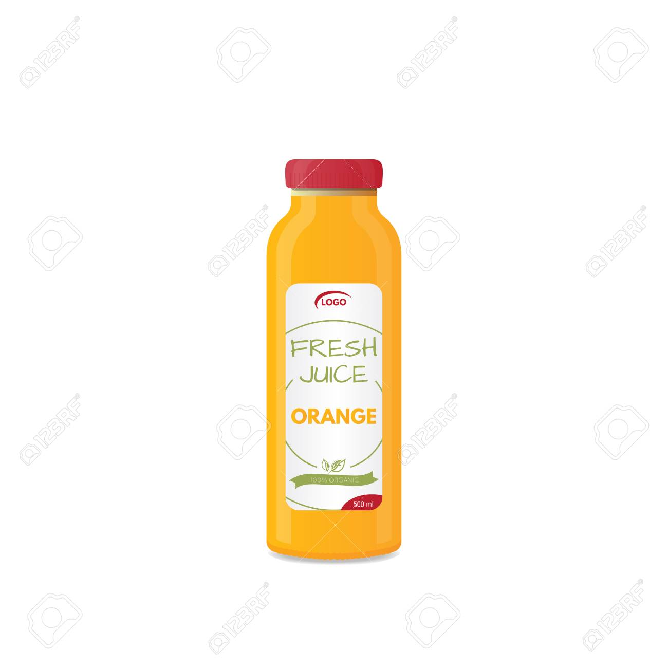 Realistic bottle of juice mockup  Product template  Label and