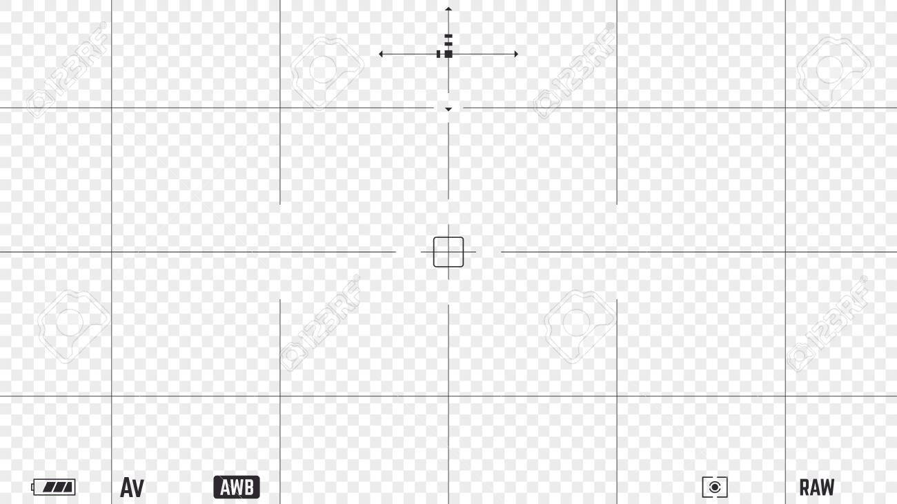 Photo camera realistic viewfinder overlay with video settings and autofocus points. 16:9 full hd format of frame template. DSLR professional camera frame vector template on transparent background. - 146474949