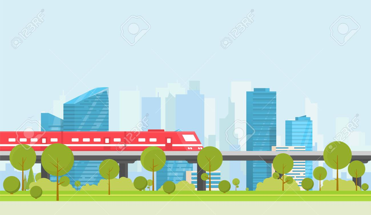 Subway and city on background. Park with trees and bushes. City train outdoor. Flat style vector. On background business city center with skyscrapers. Green park vegetation in center of big town. - 149316571
