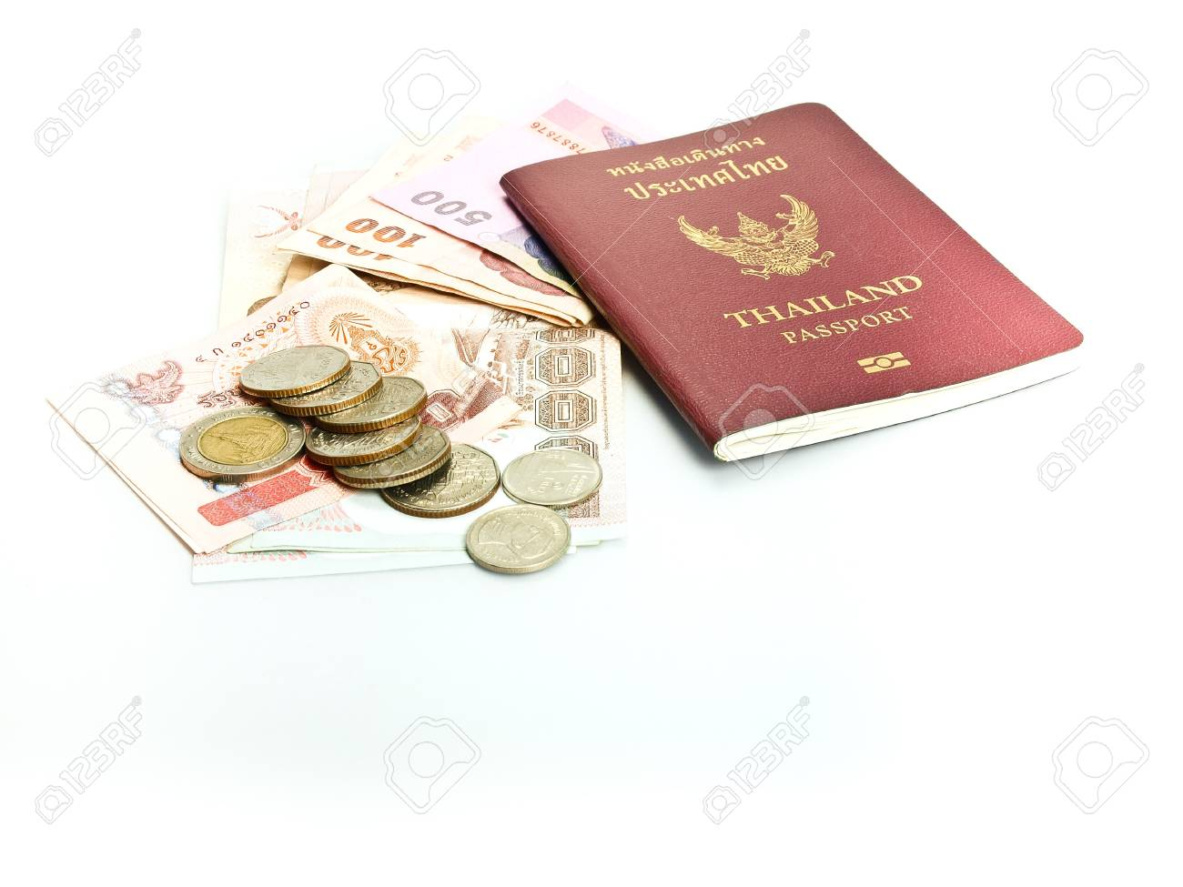 Thailand passport ,Thai  banknote and coin Stock Photo - 13431925