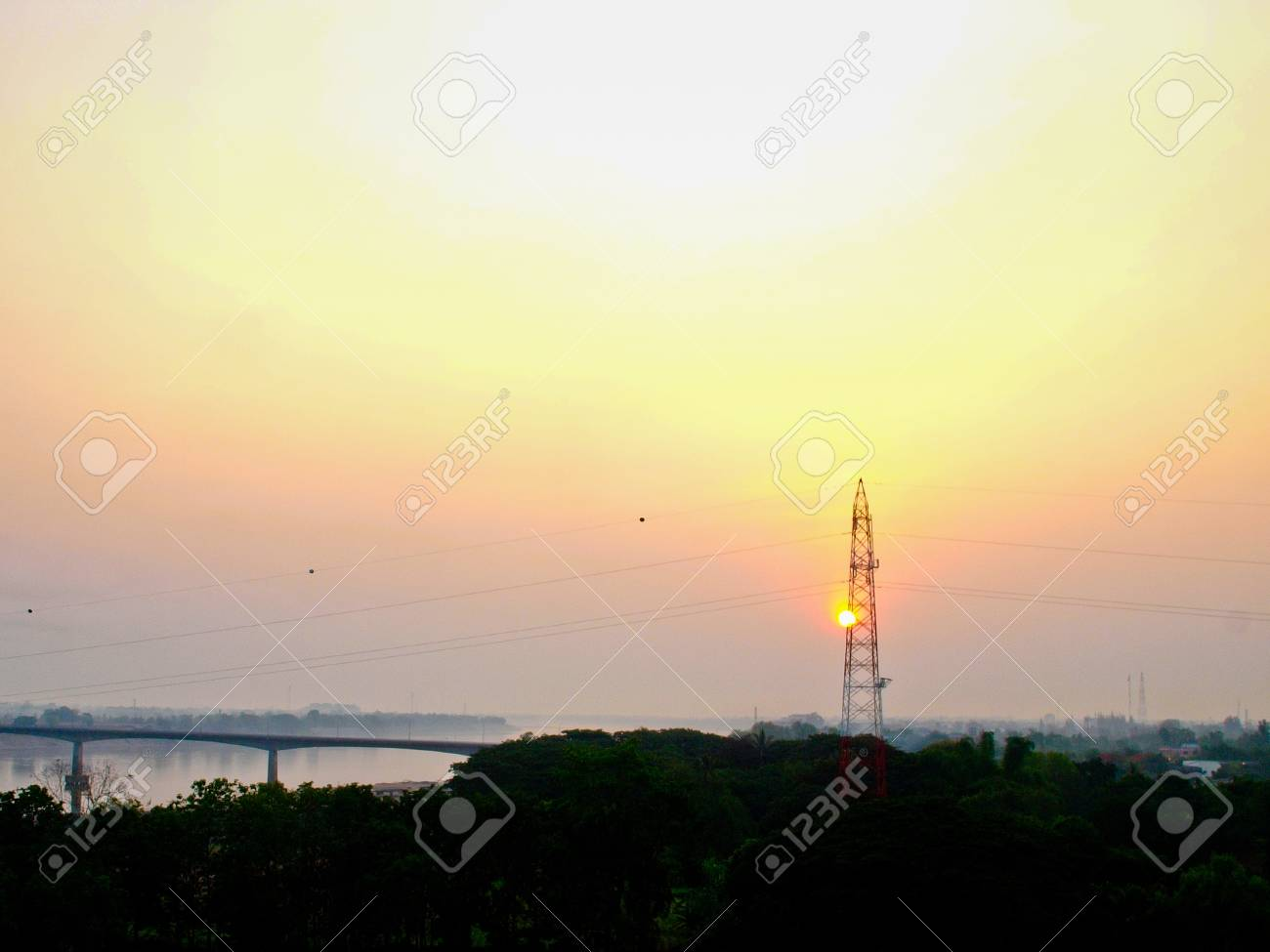 Electric high voltage power post Stock Photo - 17776157