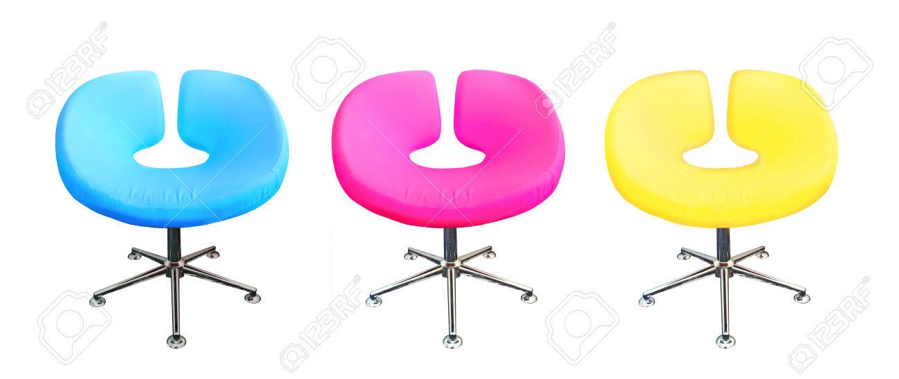 Modern Chair In Metal And Multicolor Fabric Cyanmagentayellow