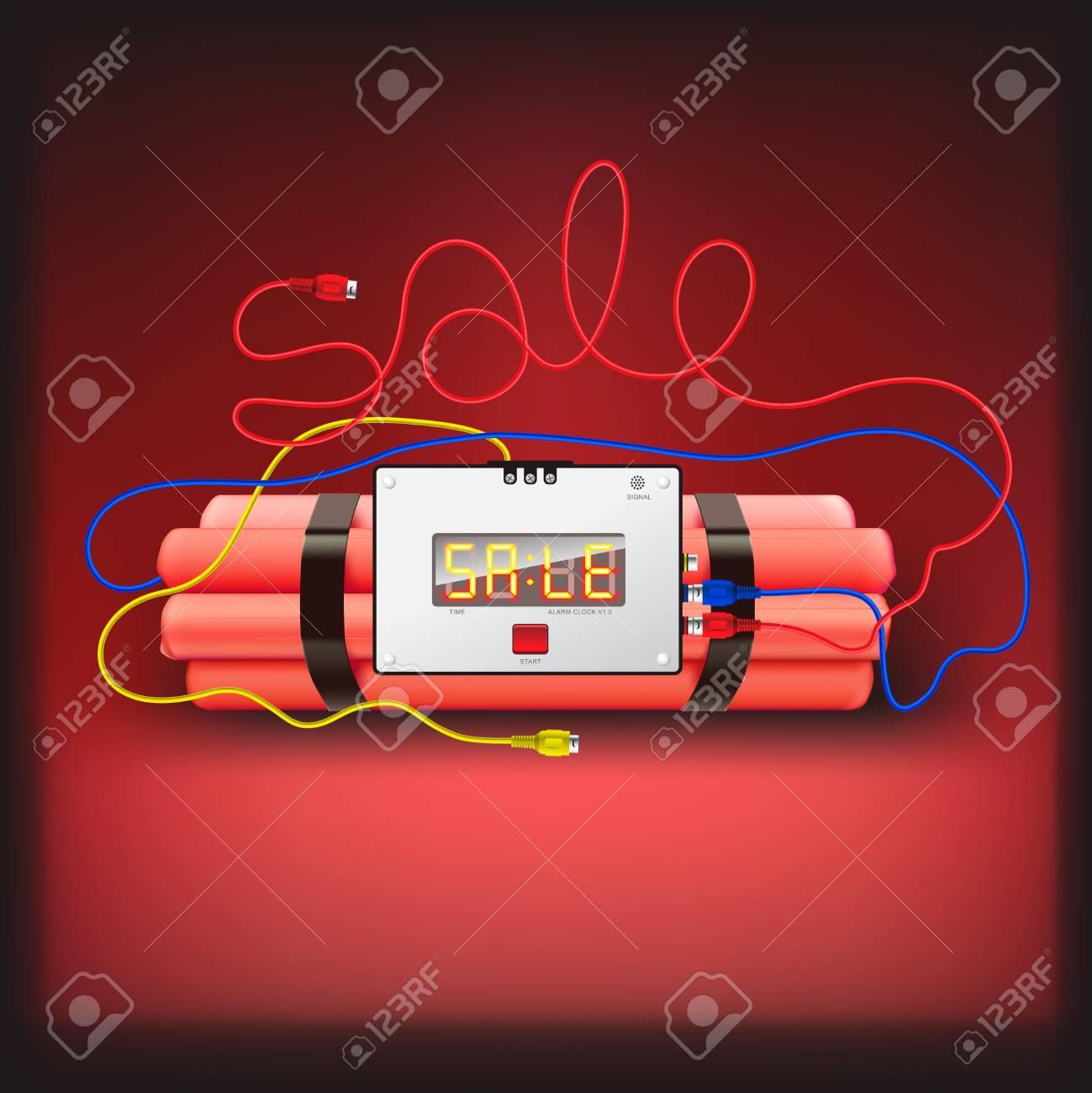 Detonator isolated on red background Stock Photo - 17385188