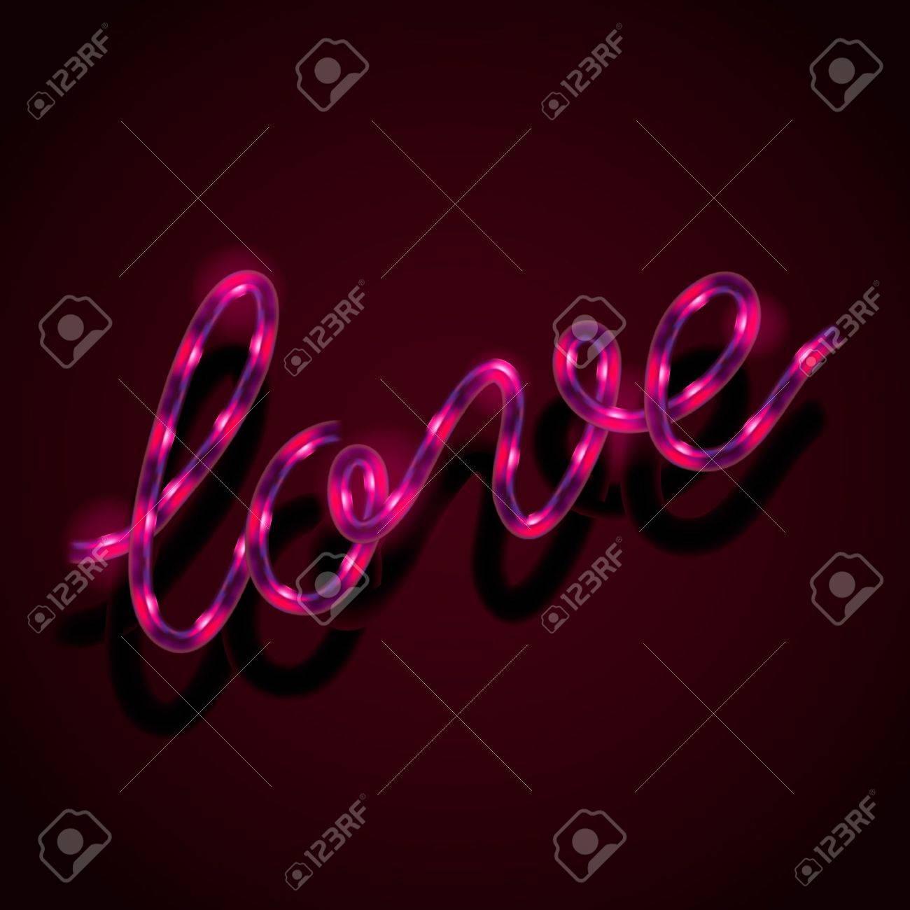 Glowing neon sign - Love Stock Vector - 18245277