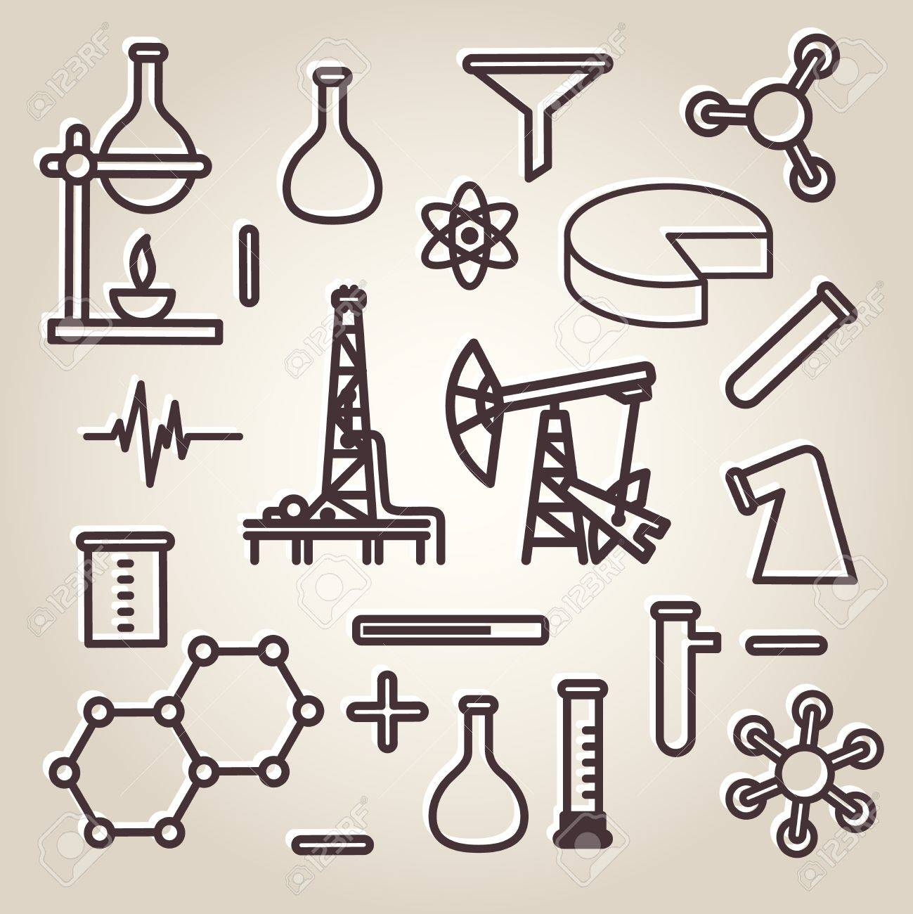 Black line minimalistic science icons set Stock Vector - 20198628