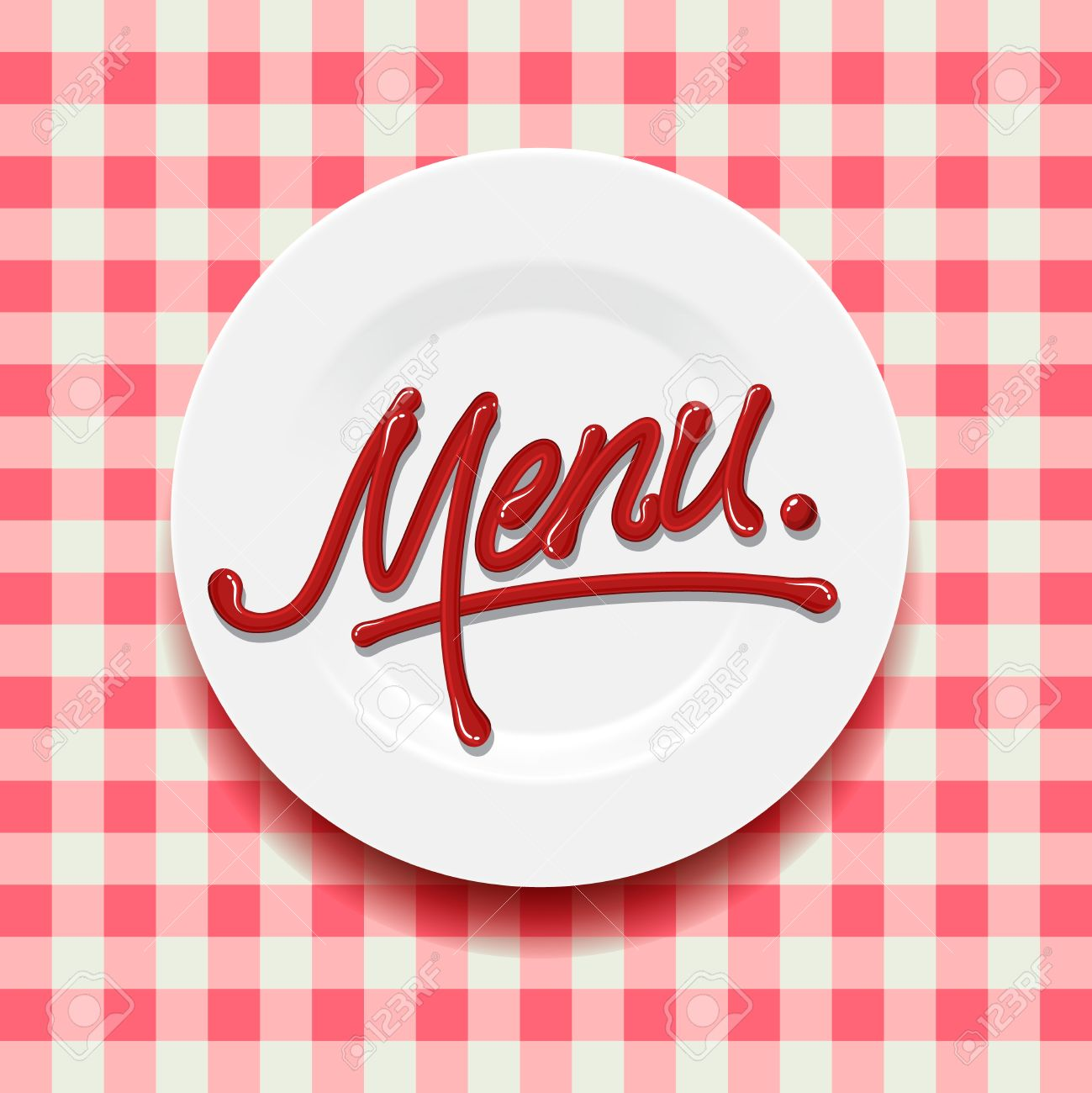 word menu - made with red sauce on plate royalty free cliparts