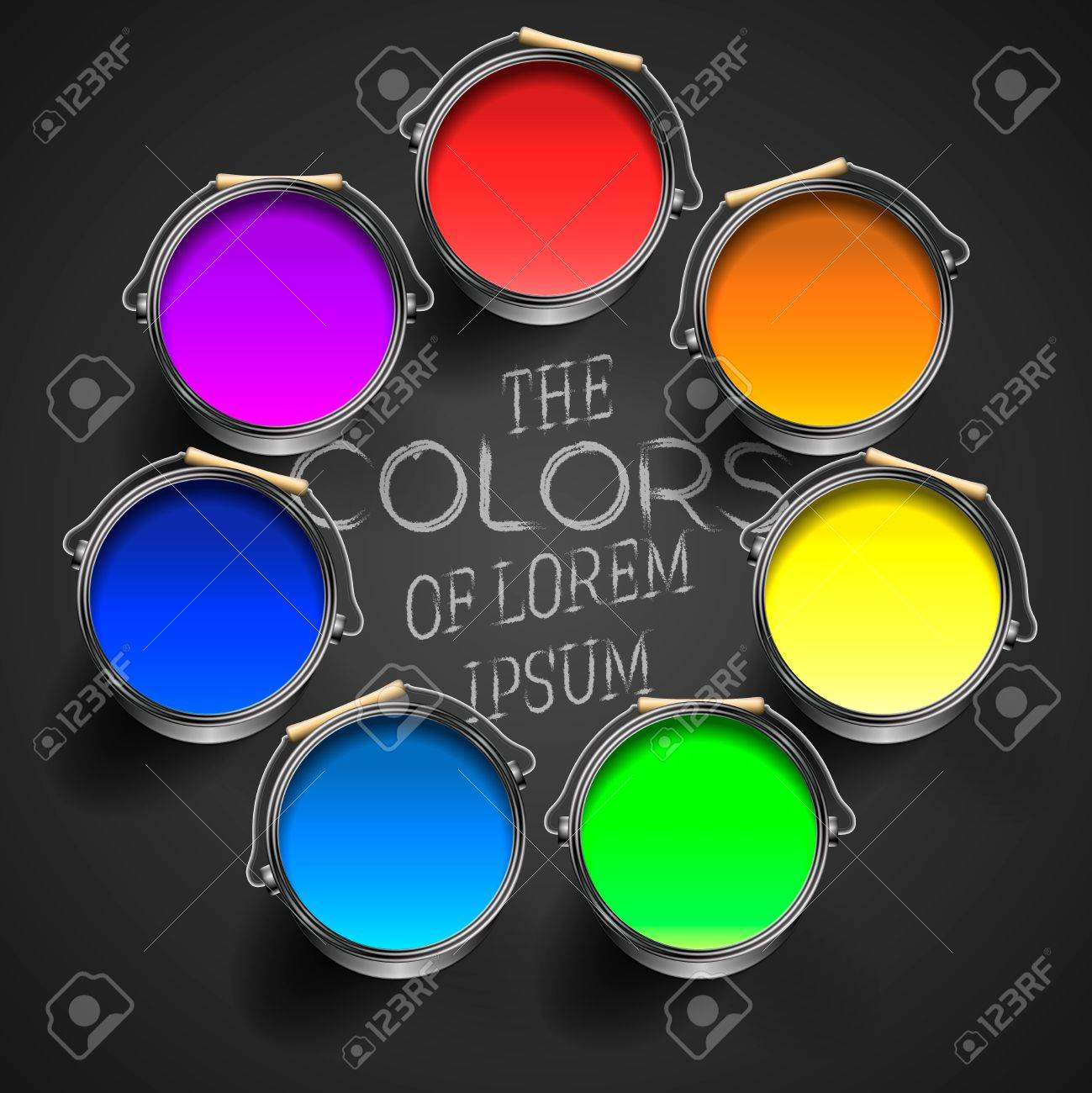 Opened paint buckets with multicolored paints Stock Photo - 20869268