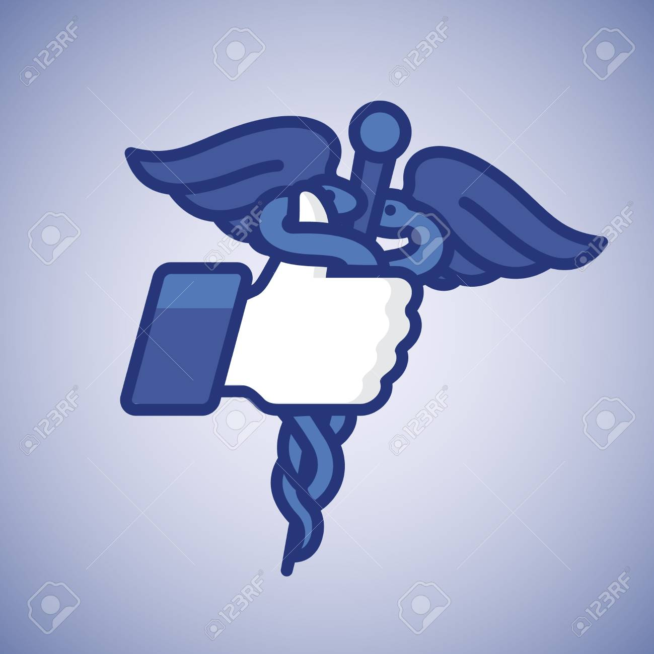 Like Thumbs Up icon with caduceus medical symbol Stock Photo - 20869296