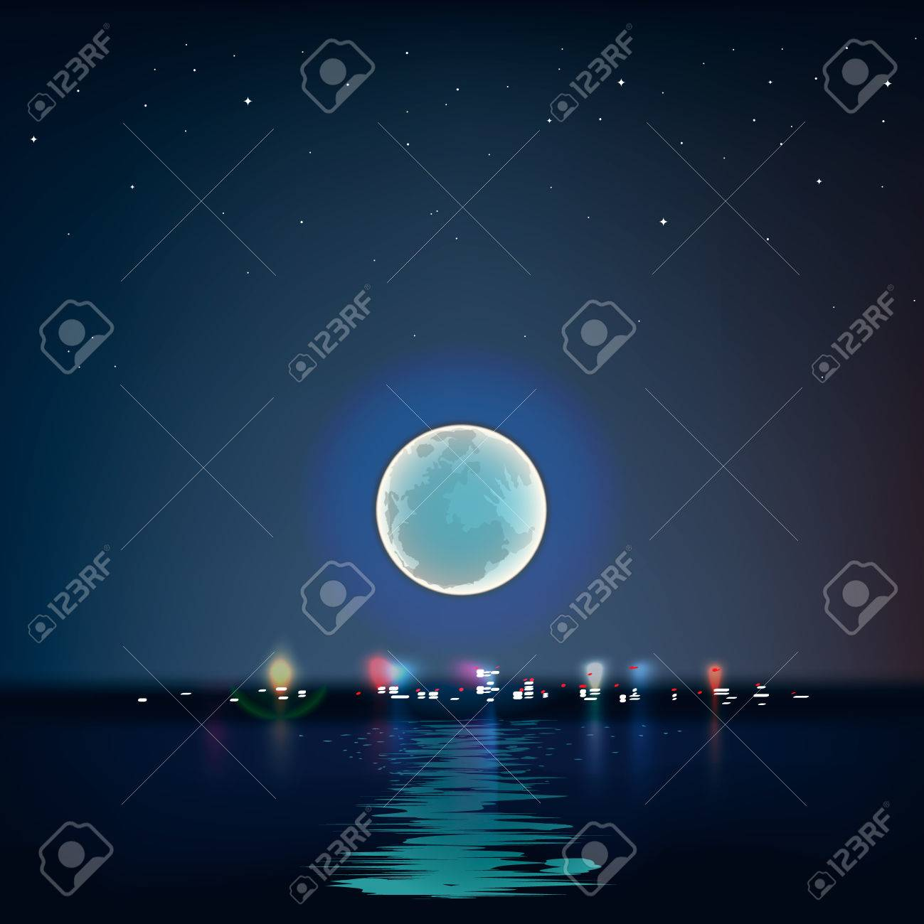 Full blue moon over cold night water, vector Eps10 illustration. - 22298977