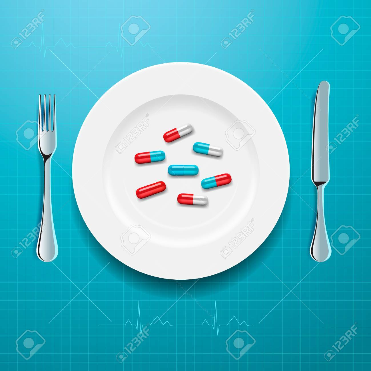 Pills on the plate, vector Eps10 illustration. Stock Vector - 22298981