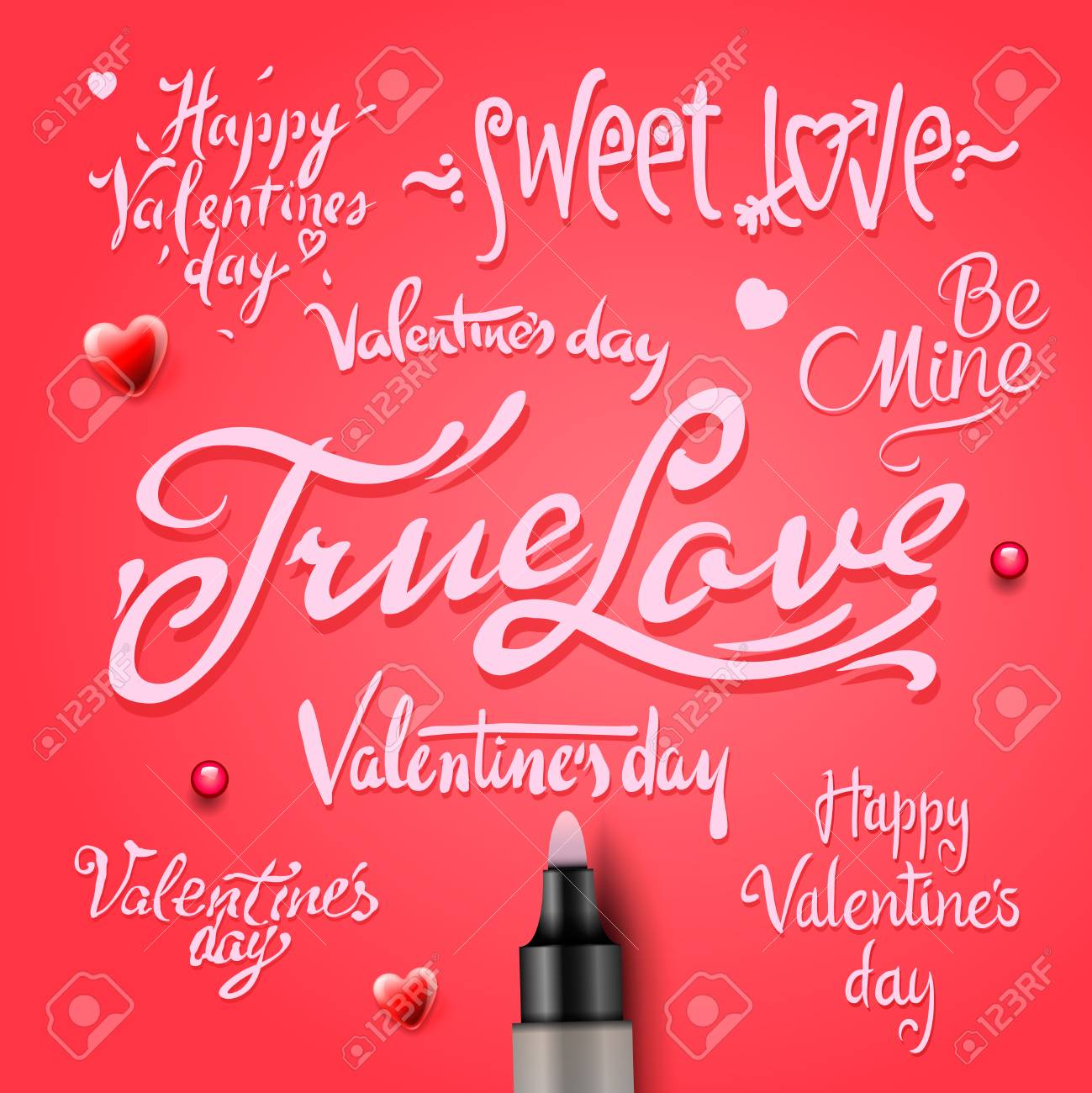 Set Of Valentine S Day Words Royalty Free Cliparts Vectors And