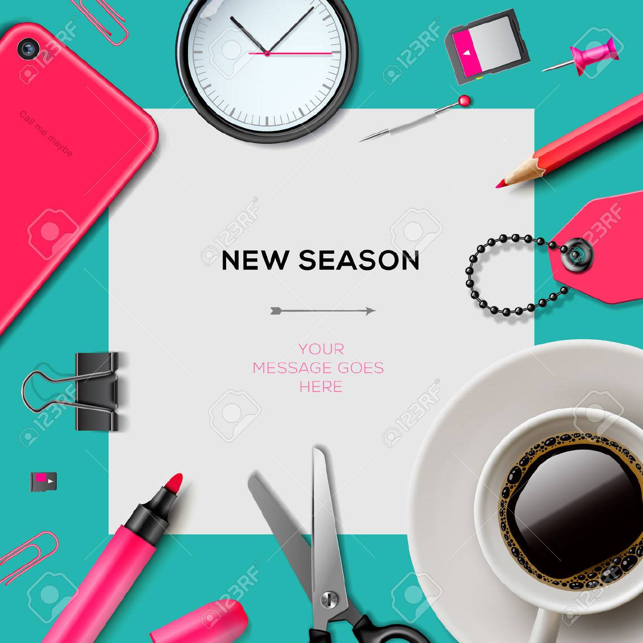 New season invitation template with office supplies royalty free new season invitation template with office supplies stock vector 27335367 stopboris Gallery