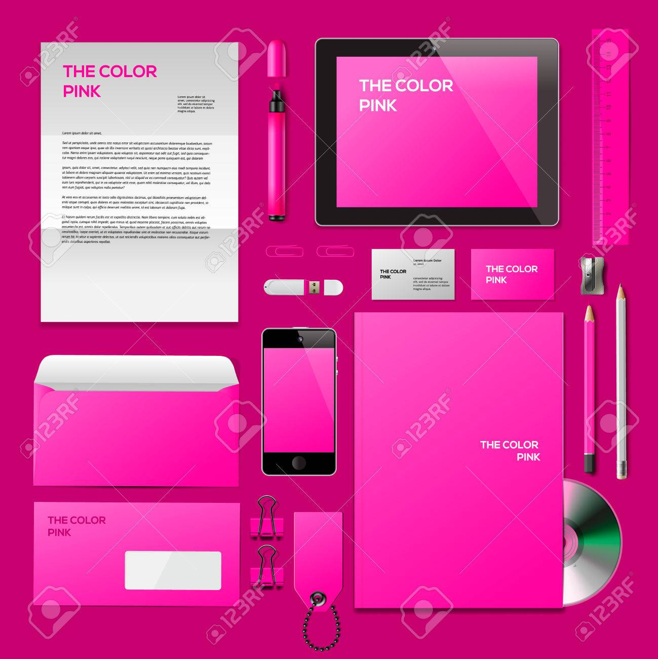 Pink Corporate ID Mockup. Consist Of Business Cards, Cd Disk ...