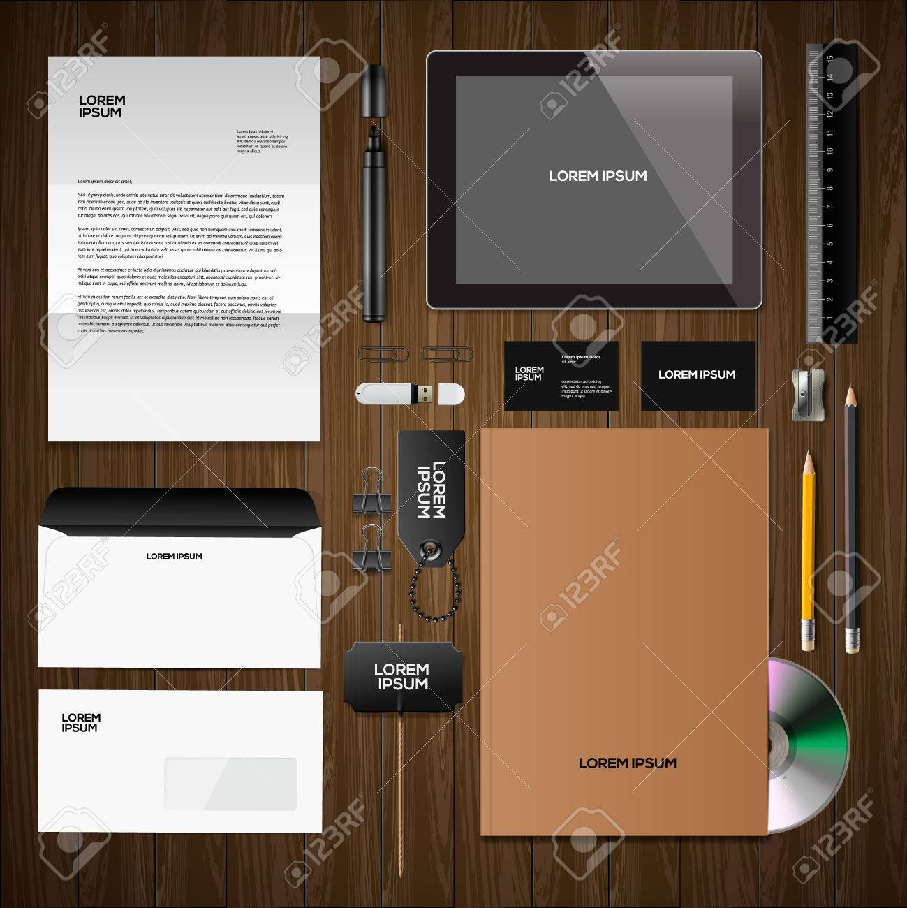 Corporate identity mock-up: blank, business cards, disk, notepad, pen, envelope, badge, stationery, brand-book, portable console, tablet pc. Stock Vector - 27714087