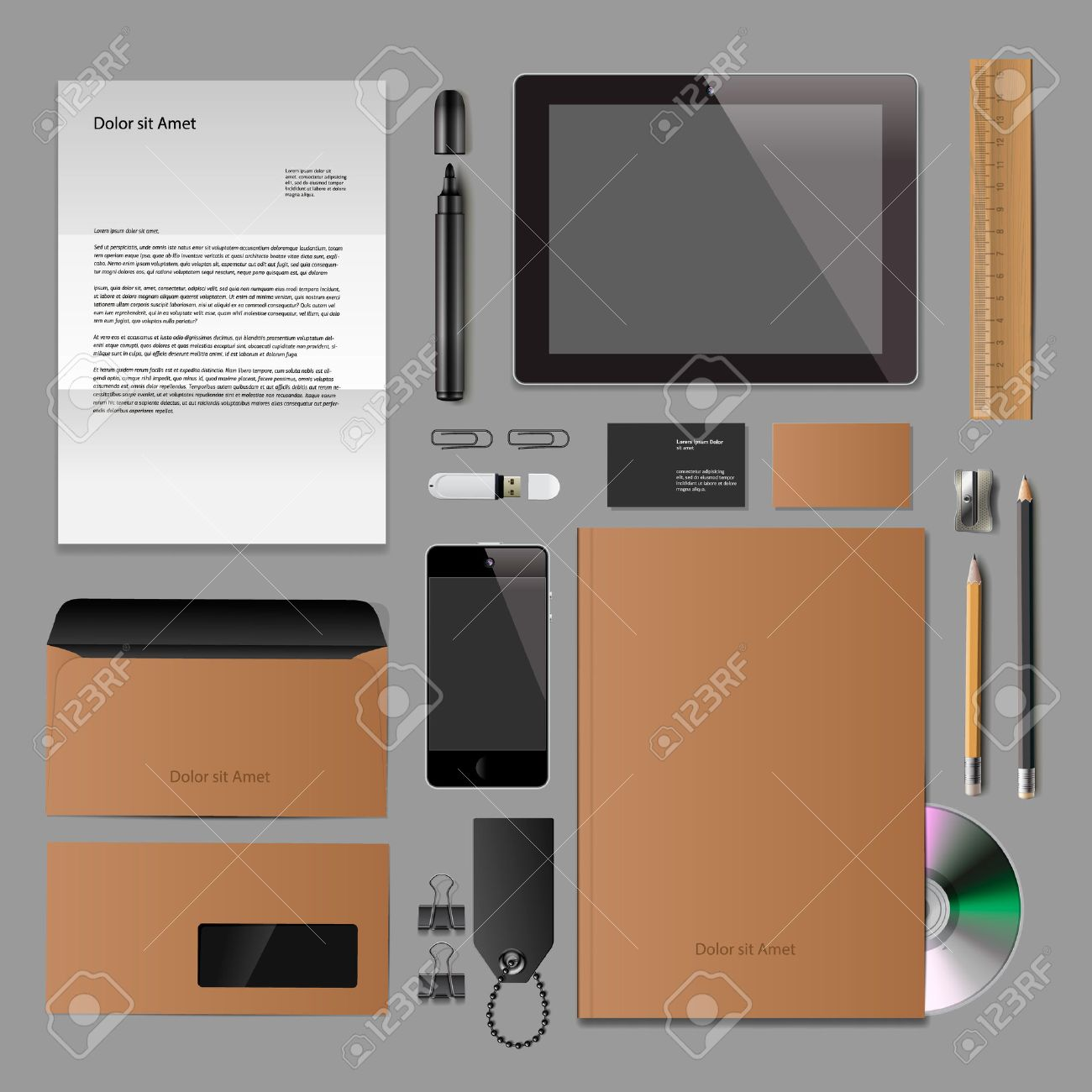 Corporate Identity Mock-up: Blank, Business Cards, Disk, Notepad ...