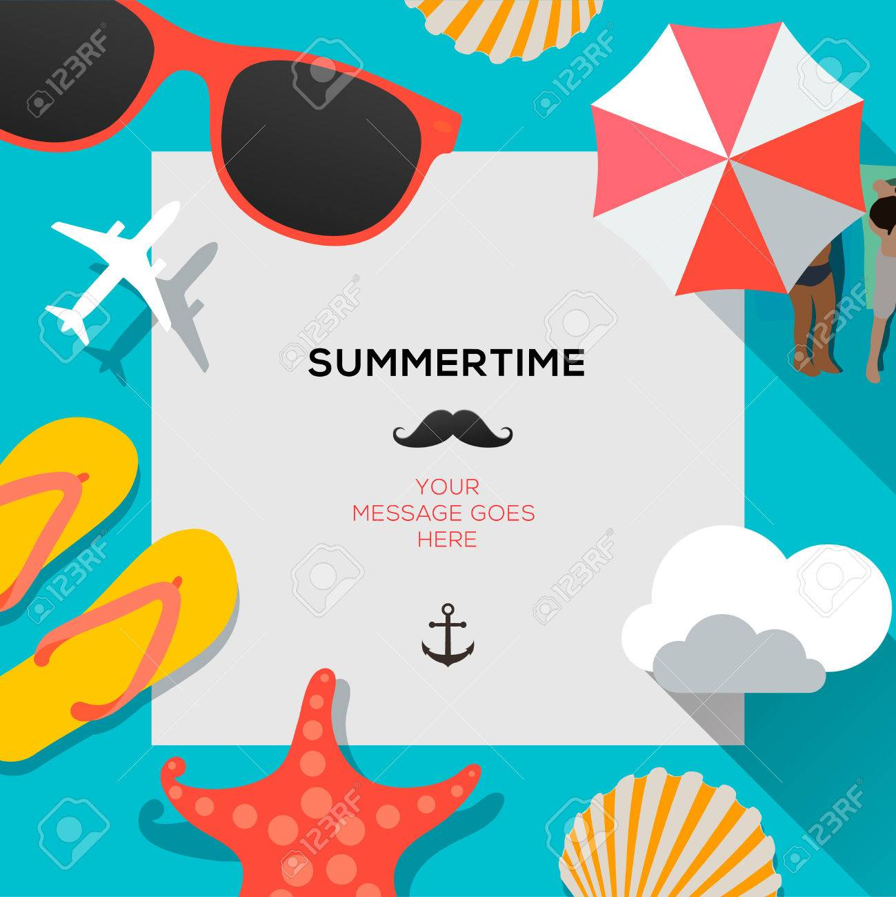Summertime traveling template with beach summer accessories - 28138602