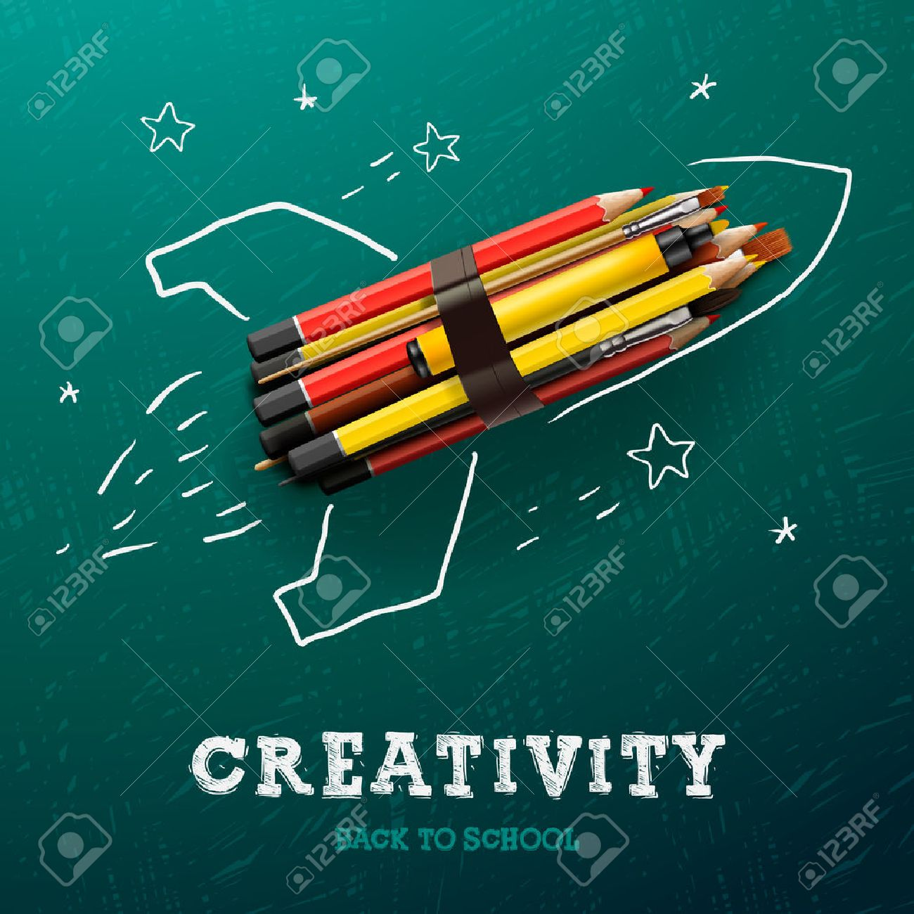 Back to school design background with primary subject matter school - Education Creativity Learning Rocket Ship Launch With Pencils Sketch On The Blackboard