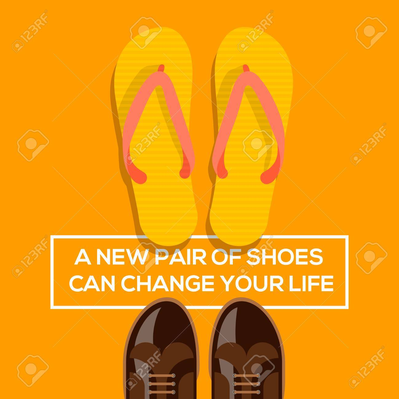 Concept of choices, a new pair of shoes can change your life. Vector illustration. Stock Vector - 28872966