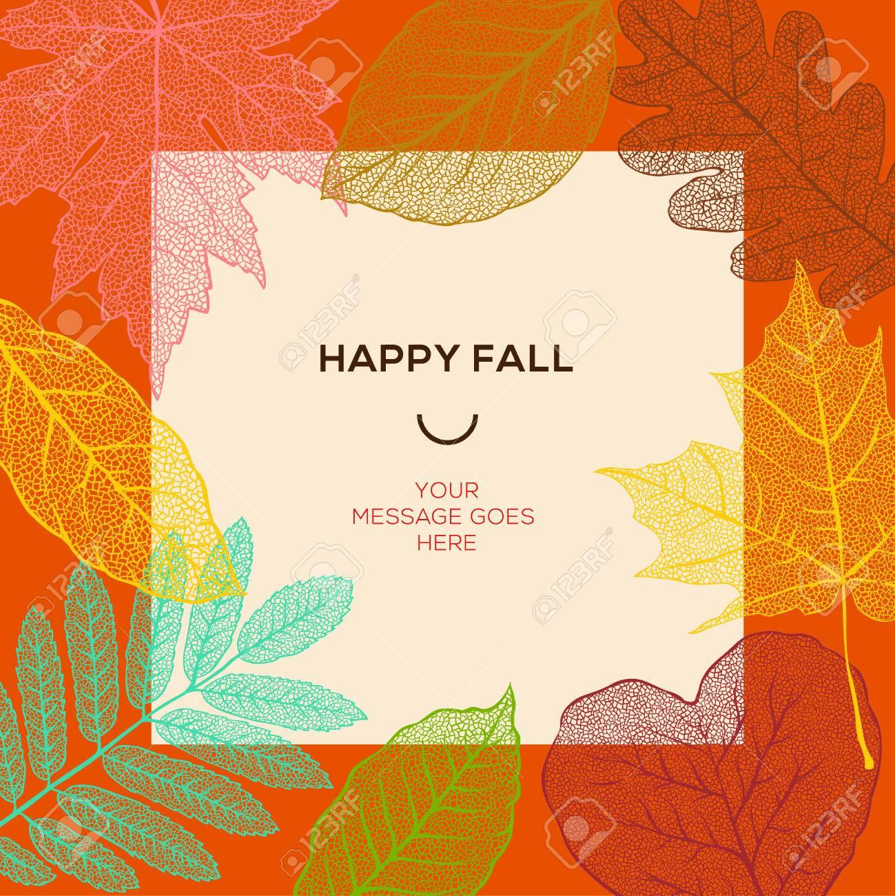 幸せな秋紅葉と単純なテキストベクトル イラスト テンプレートですの