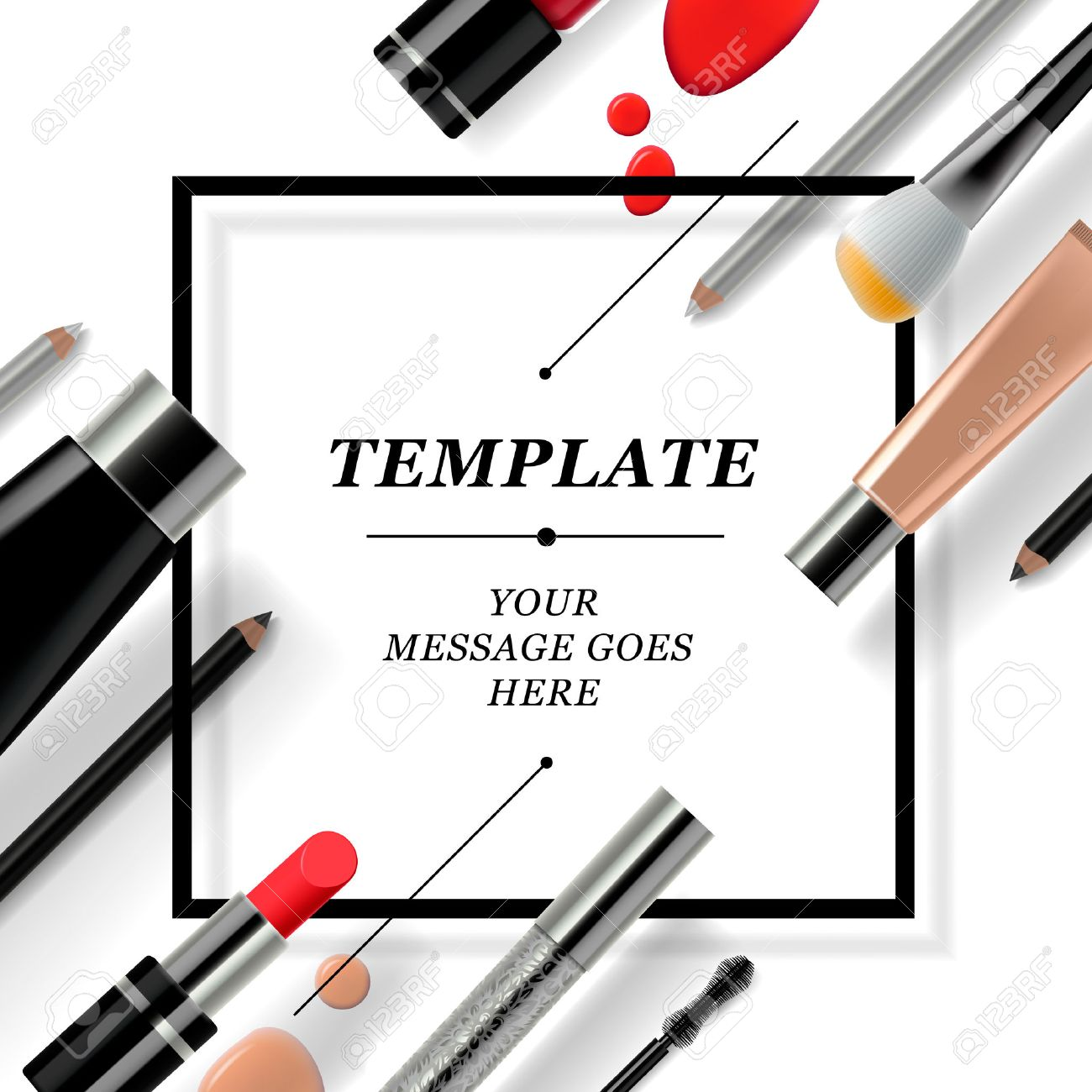 Makeup template with collection of make up cosmetics and accessories, vector illustration. Standard-Bild - 34826680